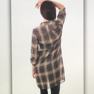 Tops - 🍨Blue/tan🍨plaid leggings sheer blouse