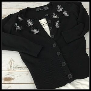 Speak 2 Me Black Button Up Sweater
