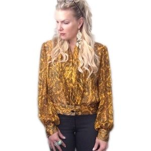 Adrianna Papell Tops - Adrianna Papell 100% silk yellow/black top.