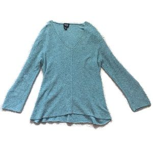 Eileen fisher petite turquoise v neck sweater