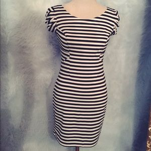 Striped body cone dress