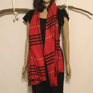 Accessories - Windy Days Red and Black Plaid Blanket Scarf