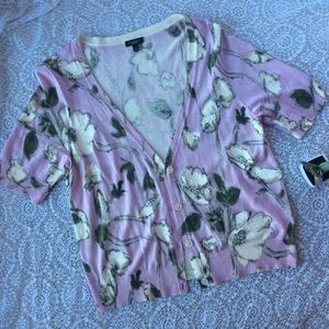 Beaded Watercolor Half Sleeve Cardigan In Lilac
