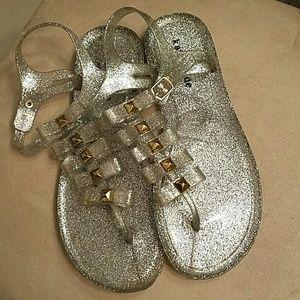 Kate Spade glitter jelly flat sandals