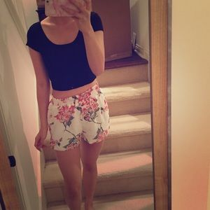 Missguided floral chiffon shorts