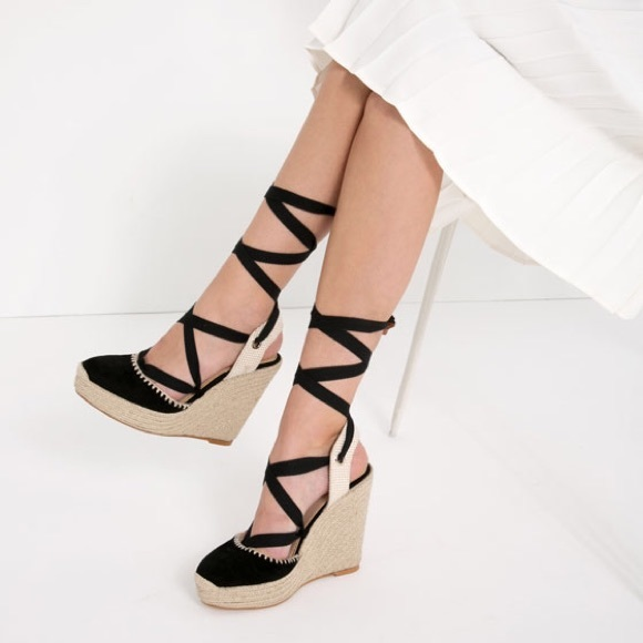 7f001a35f2a ZARA Lace Up LEATHER Wedges   Espadrilles