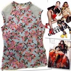JPG JEANS JEAN PAUL GAULTIER ITALY FLORAL TOP