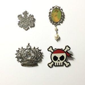 Jewelry - Brooch Set 🛍 Snowflake Victorian Crown Pirate