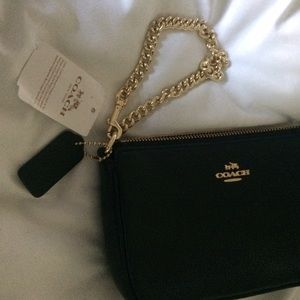 bfccacb4300 Coach Bags   Nwt Black Leather And Gold Chain Wristlet   Poshmark