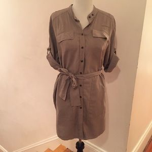 French Connection silk belted shirt dress
