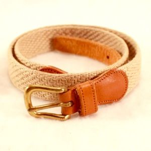 """COACH Woven Belt- Tan and Brown Leather 32"""" Belt"""