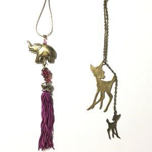 Jewelry - Bohemia Necklace Bundle🎁 Elephant Tassel & Bambi