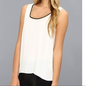 Joie Tops - Soft Joie Munroe Tank with Gold Trim Porcelain