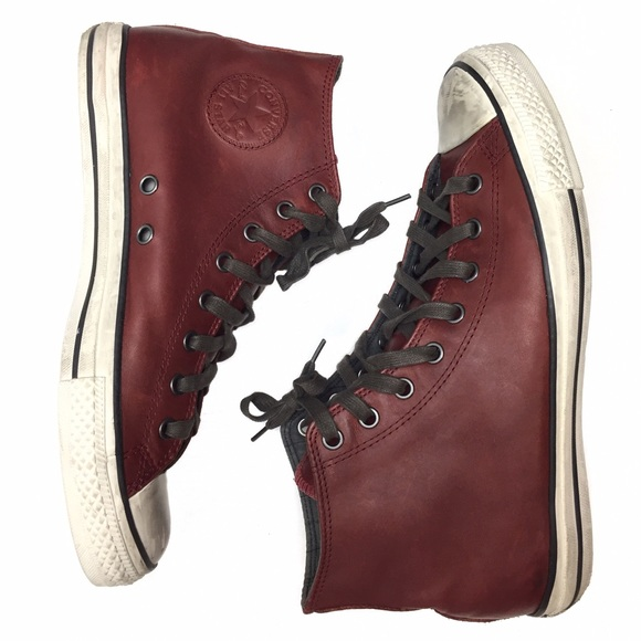 7e456ca427e5 Converse Other - CONVERSE ALL STAR BURGUNDY LEATHER HI TOP SNEAKERS
