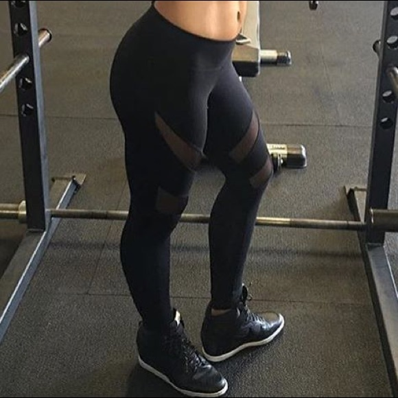 d4e1803f6ccbf Electric Yoga Pants | Yogalicious Black And Mesh Slimming Leggings ...