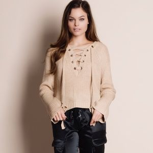 Bare Anthology Sweaters - Lace Up Flare Sleeve Sweater