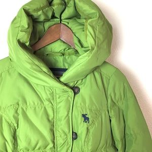 Abercrombie & Fitch Green Down Puffy Jacket