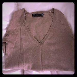 Zara v neck sweater top knit