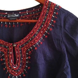 Lucky Brand Tops - Lucky Brand navy embroidered top