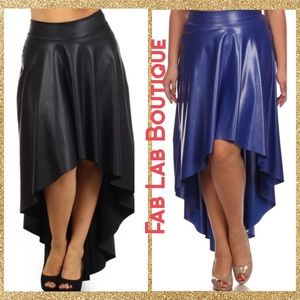 High Low Faux Leatherette Skirt Plus Size (1X-3X)