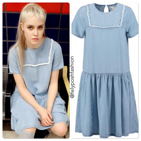 ad14ab799bc5 UO X Little White Lies Suki Chambray Shift Dress