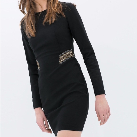 917b960f75500 Zara Dresses | Hp Beaded Sequin Waist Midi Bodycon Dress | Poshmark