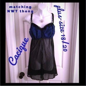 Blue Strappy Sheer Mesh Babydoll Sleepwear Big Plus Size 12-22 Lingerie Dress