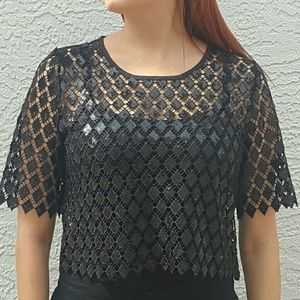 Gracia Tops - Glitter Lace Crop