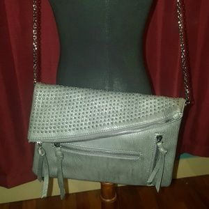 Urban Expressions Handbags - Grey vegan clutch with silver studs