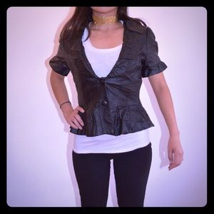 Forever 21 Cropped Black Leather Peplum Jacket