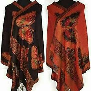 Black Red Butterfly Wrap Scarve Exotic Beautiful