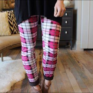 Pants - Pink plaid print cozy fur lined leggings