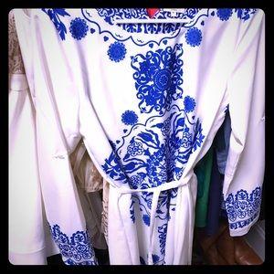 Tea n Cup Dresses & Skirts - White & Blue Tea & Cup long sleeve dress- Medium