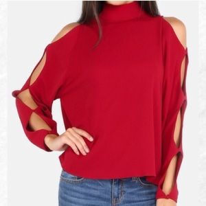 Tops - Last chance! Red Cutout Sleeve Top