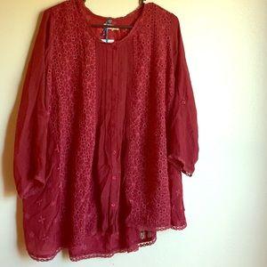 NWT Kyla Seo Maroon Embroidered Tunic Blouse