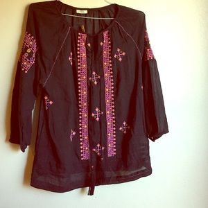NWT Kyla Seo Embroidered Woven Blouse