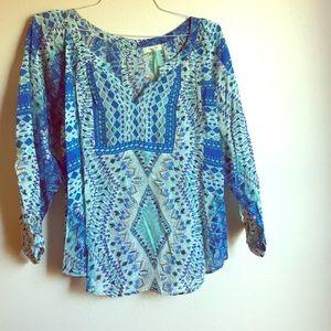 NWT Kyla Seo. Patterned Tunic Blouse