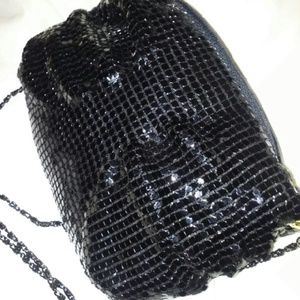 Handbags - SALE Black Metal Beaded Evening Bag w/Long Strap