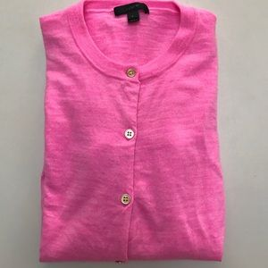 J. Crew Sweaters - J Crew neon pink merino wool cardigan