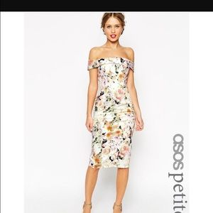 Brand new asos petite wedding Bardot floral dress