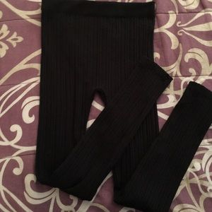 Pants - Full Length Textured Fleece-Lined Leggings