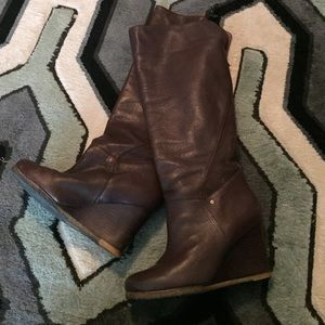 UGG Shoes - UGG Beautiful dark brown soft leather wedge boot