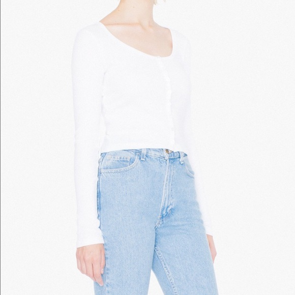 7b5766c1cc8 American Apparel Tops | Ribbed Button Crop Top In White | Poshmark