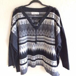 Vintage Havana Sweaters - Vintage Havana Wool Aztec Poncho