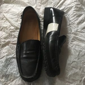 BALLY Black w White inside leather stripes Loafers