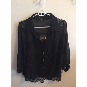 Lace Back Button Front Blouse - Size L