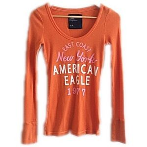 American Eagle Outfitters Tops - American Eagle Outfitters tangerine long sleeve