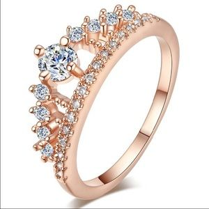 Jewelry - 18k Rose Gold Plated CZ Diamond Crown Ring