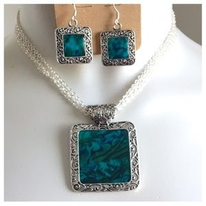 Jewelry - New- Antique Silver Blue Abalone