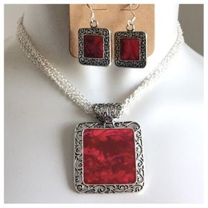 Jewelry - New- Antique Silver Fuchsia Abalone Necklace Set
